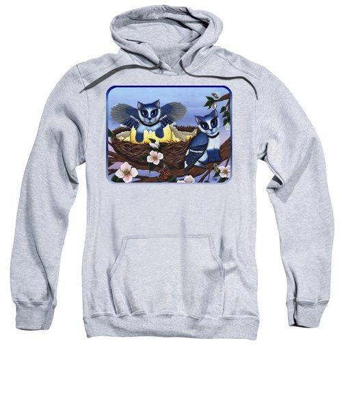 Blue Jay Kittens Sweatshirt by Carrie Hawks
