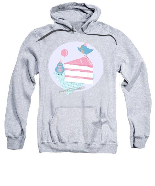 Bluebirds Love Birthday Cake Sweatshirt by Little Bunny Sunshine