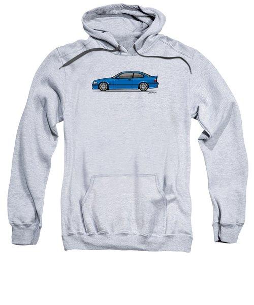 Bmw 3 Series E36 M3 Coupe Estoril Blue Sweatshirt by Monkey Crisis On Mars