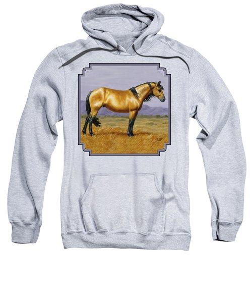 Buckskin Mustang Stallion Sweatshirt by Crista Forest