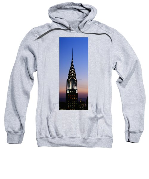 Building Lit Up At Twilight, Chrysler Sweatshirt by Panoramic Images