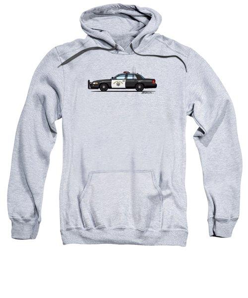 California Highway Patrol Ford Crown Victoria Police Interceptor Sweatshirt by Monkey Crisis On Mars