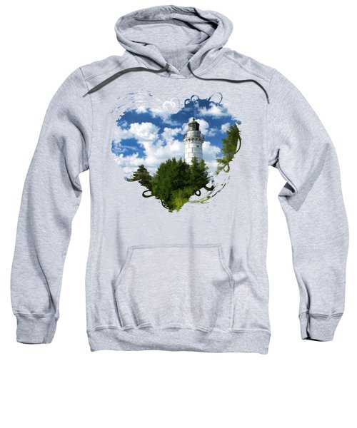 Cana Island Lighthouse Cloudscape In Door County Sweatshirt by Christopher Arndt