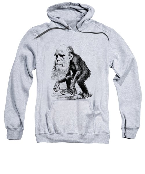 Charles Darwin As An Ape Cartoon Sweatshirt by War Is Hell Store