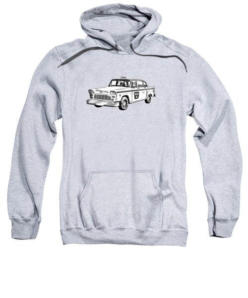 Checkered Taxi Cab Illustrastion Sweatshirt by Keith Webber Jr