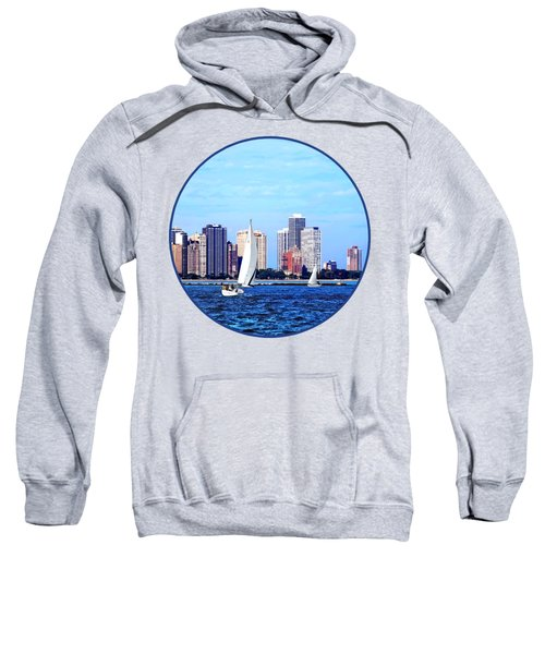 Chicago Il - Two Sailboats Against Chicago Skyline Sweatshirt by Susan Savad
