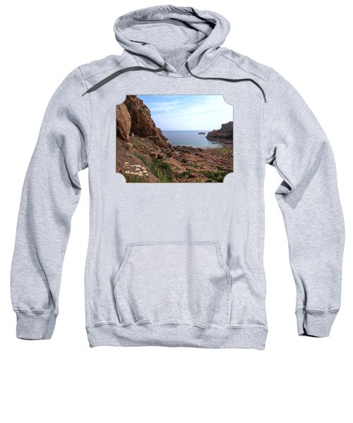 Daisies In The Granite Rocks At Corbiere Sweatshirt by Gill Billington