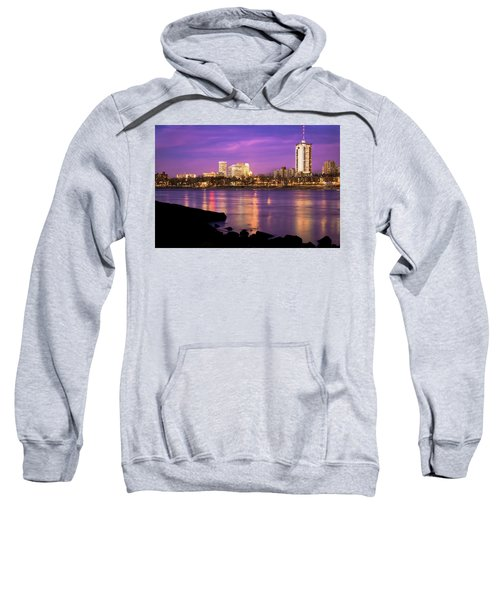 Downtown Tulsa Oklahoma - University Tower View - Purple Skies Sweatshirt by Gregory Ballos