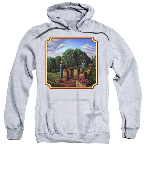 Farm Americana - Autumn Apple Harvest Country Landscape - Square Format Sweatshirt by Walt Curlee