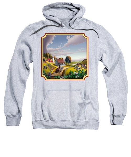Farm Americana - Farm Decor - Appalachian Blackberry Patch - Square Format - Folk Art Sweatshirt by Walt Curlee