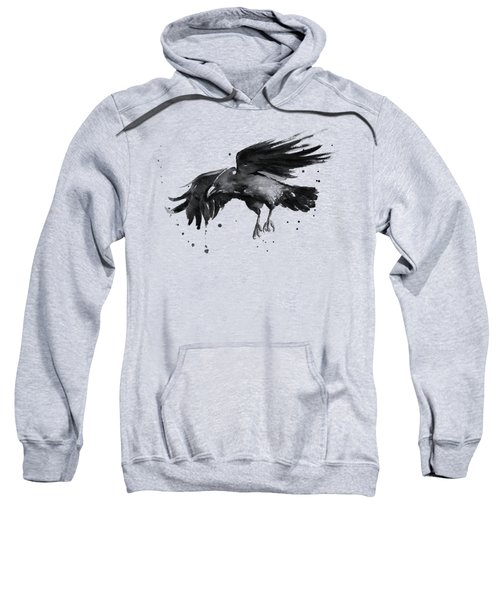 Flying Raven Watercolor Sweatshirt by Olga Shvartsur