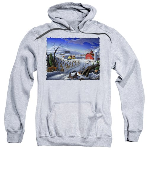 Folk Art Winter Landscape Sweatshirt by Walt Curlee