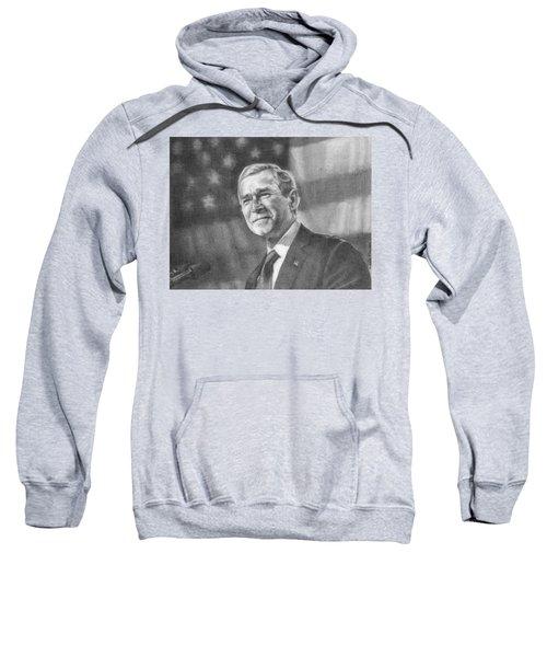 Former Pres. George W. Bush With An American Flag Sweatshirt by Michelle Flanagan