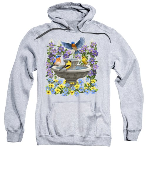 Fountain Festivities - Birds And Birdbath Painting Sweatshirt by Crista Forest