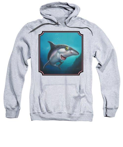 Friendly Shark Cartoony Cartoon - Under Sea - Square Format Sweatshirt by Walt Curlee