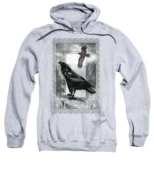 Gothic Victorian Raven Mixed Media Illustration Sweatshirt by Sharon and Renee Lozen