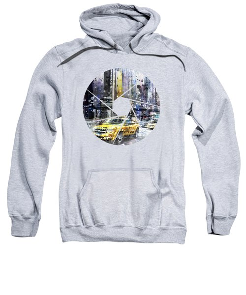 Graphic Art New York City Taxis And Manhattan Skyline Sweatshirt by Melanie Viola