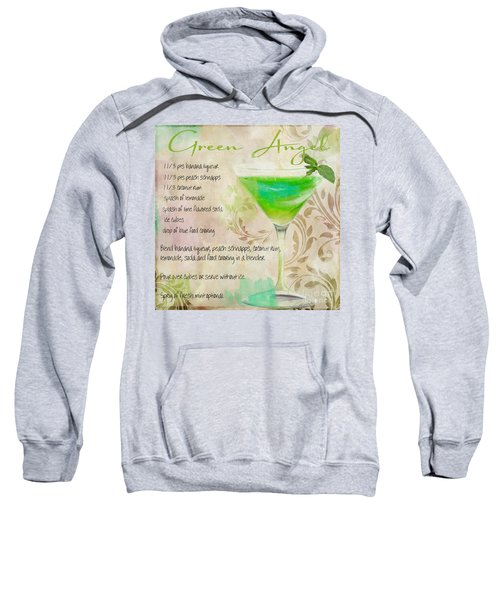 Green Angel Mixed Cocktail Recipe Sign Sweatshirt by Mindy Sommers