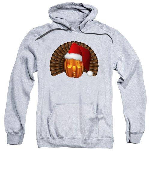 Hallowgivingmas Santa Turkey Pumpkin Sweatshirt by MM Anderson
