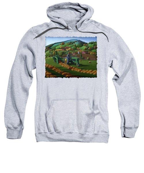 John Deere Tractor Baling Hay Farm Folk Art Landscape - Vintage - Americana Decor -  Painting Sweatshirt by Walt Curlee