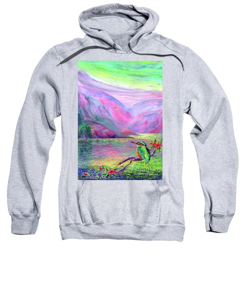 Kingfisher, Shimmering Streams Sweatshirt by Jane Small