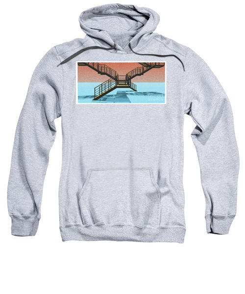 Large Stair 38 On Cyan And Strange Red Background Abstract Arhitecture Sweatshirt by Pablo Franchi