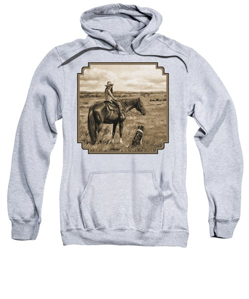 Little Cowgirl On Cattle Horse In Sepia Sweatshirt by Crista Forest