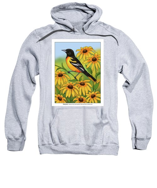 Maryland State Bird Oriole And Daisy Flower Sweatshirt by Crista Forest
