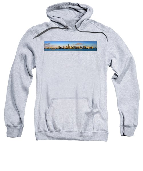 Miami Skyline In Morning Daytime Panorama Sweatshirt by Jon Holiday
