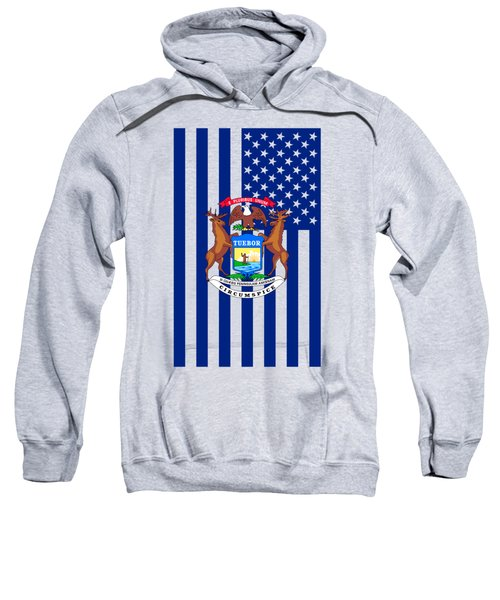 Michigan State Flag Graphic Usa Styling Sweatshirt by Garaga Designs