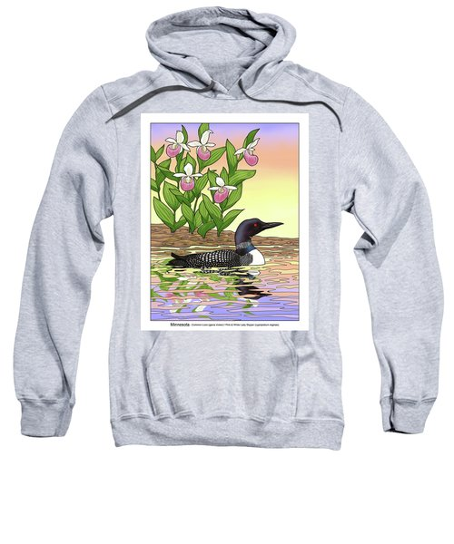 Minnesota State Bird Loon And Flower Ladyslipper Sweatshirt by Crista Forest