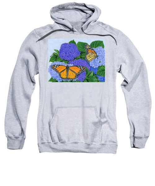 Monarch Butterflies And Hydrangeas Sweatshirt by Sarah Batalka