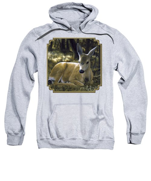 Mule Deer Fawn - A Quiet Place Sweatshirt by Crista Forest