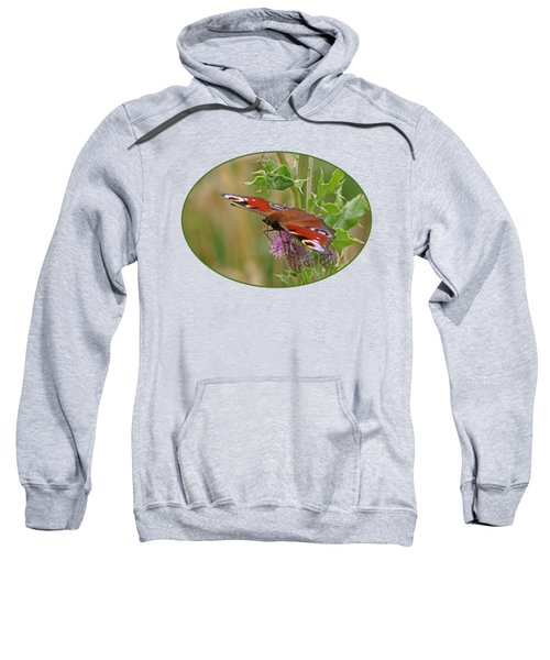 Peacock Butterfly On Thistle Sweatshirt by Gill Billington