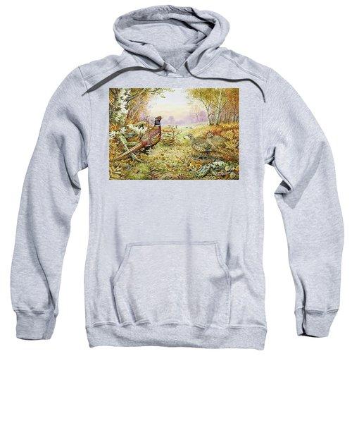 Pheasants In Woodland Sweatshirt by Carl Donner
