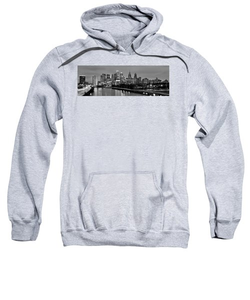 Philadelphia Philly Skyline At Dusk From Near South Bw Black And White Panorama Sweatshirt by Jon Holiday