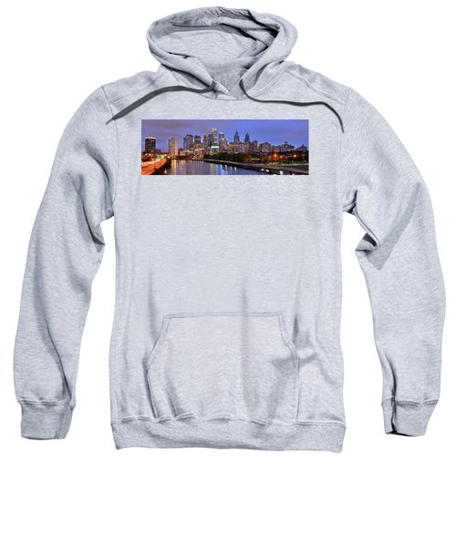 Philadelphia Philly Skyline At Dusk From Near South Color Panorama Sweatshirt by Jon Holiday