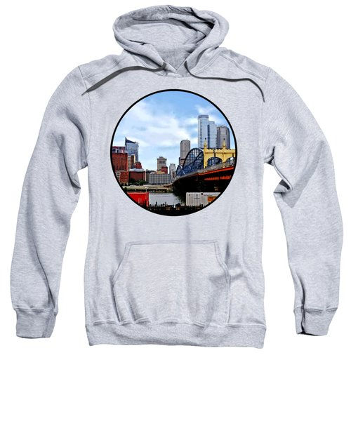 Pittsburgh Pa - Train By Smithfield St Bridge Sweatshirt by Susan Savad