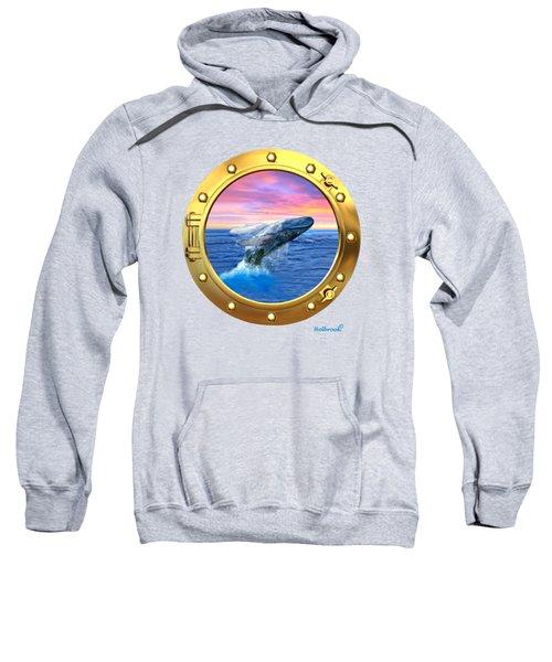 Porthole View Of Breaching Whale Sweatshirt by Glenn Holbrook