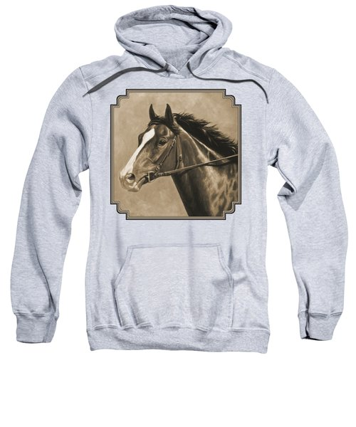 Racehorse Painting In Sepia Sweatshirt by Crista Forest