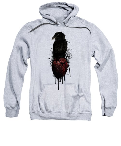 Raven And Heart Grenade Sweatshirt by Nicklas Gustafsson