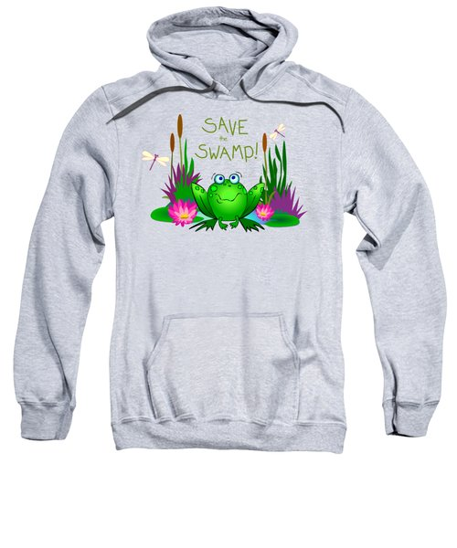 Save The Swamp Twitchy The Frog Sweatshirt by M Sylvia Chaume