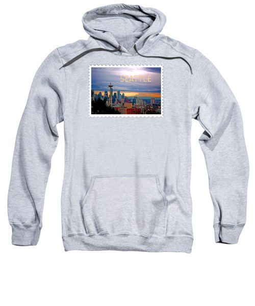 Seattle At Sunset Text Seattle Sweatshirt by Elaine Plesser