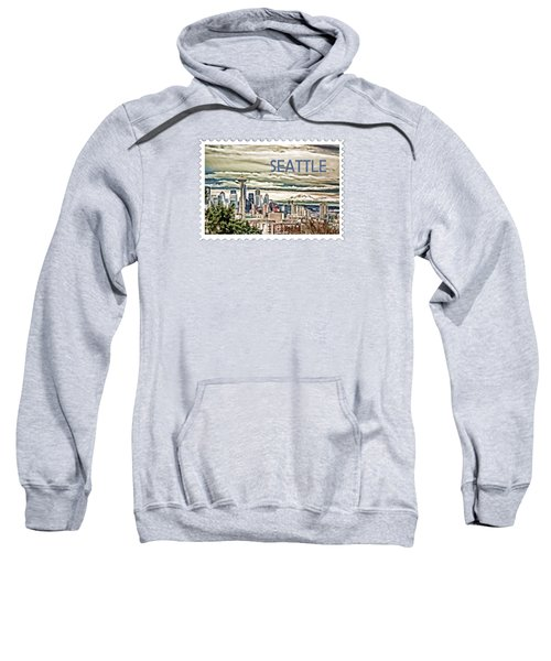 Seattle Skyline In Fog And Rain Text Seattle Sweatshirt by Elaine Plesser