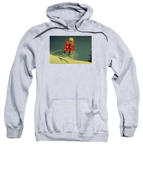 Sweatshirt featuring the photograph Skiing In Crans Montana by Travel Pics