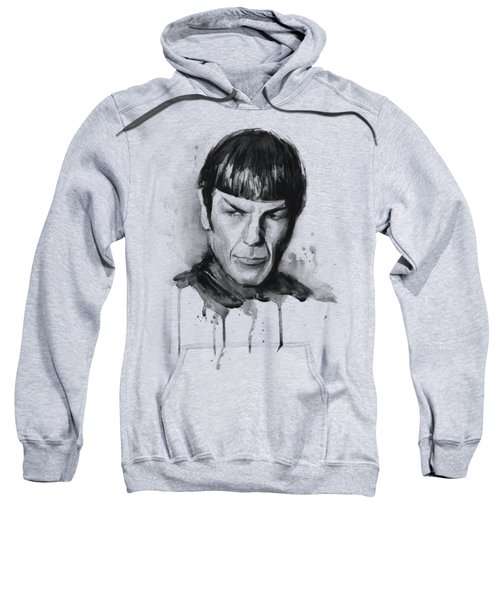Spock Portrait Watercolor Star Trek Fan Art Sweatshirt by Olga Shvartsur