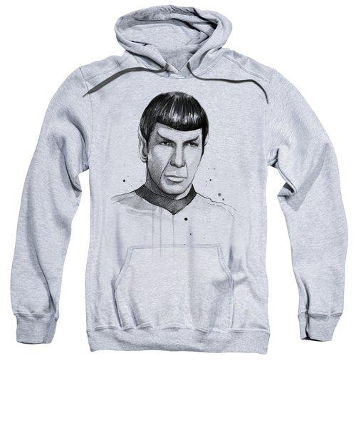 Spock Watercolor Portrait Sweatshirt by Olga Shvartsur