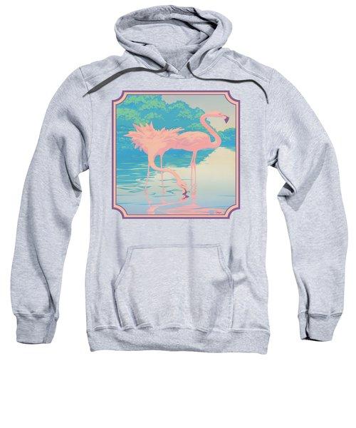 Square Format - Pink Flamingos Retro Pop Art Nouveau Tropical Bird 80s 1980s Florida Painting Print Sweatshirt by Walt Curlee