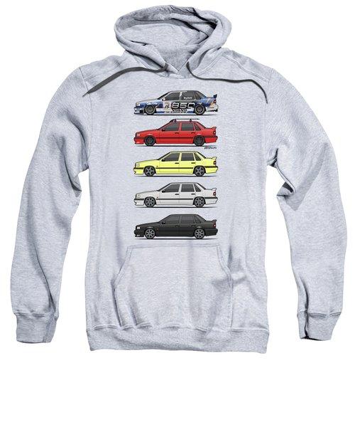Stack Of Volvo 850r 854r T5 Turbo Saloon Sedans Sweatshirt by Monkey Crisis On Mars