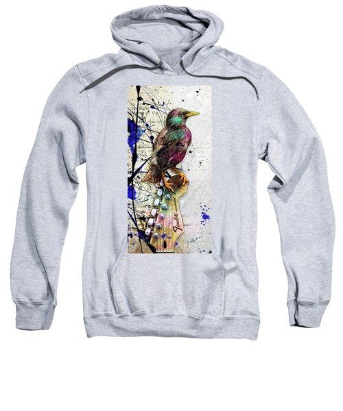 Starling On A Strat Sweatshirt by Gary Bodnar